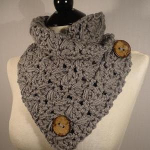 Crochet Scarf Pattern, Button Scarf, Crochet Button Cowl ...