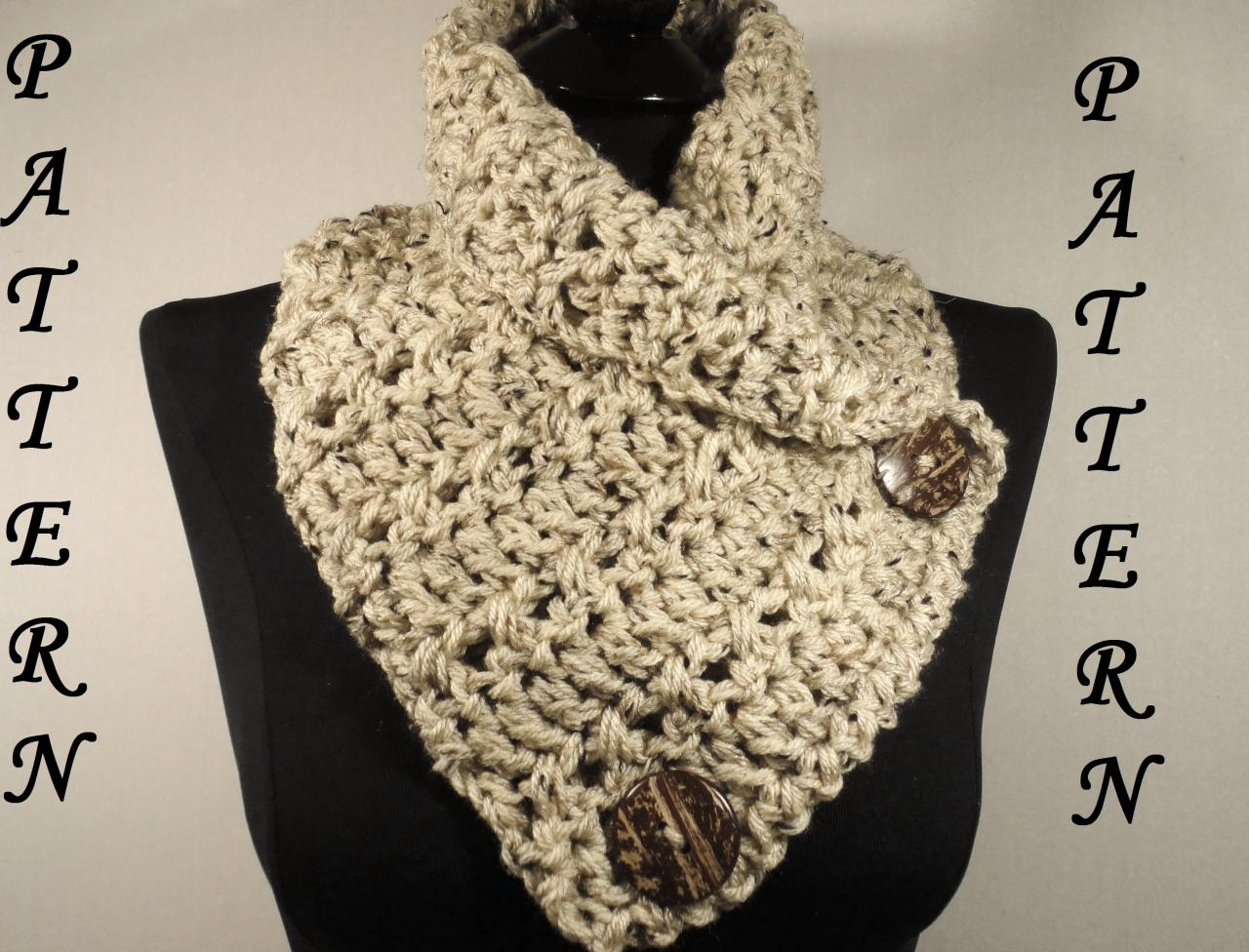 Free Crochet Pattern Button Scarf : Crochet Scarf Pattern, Button Cowl Pattern, Button Scarf ...