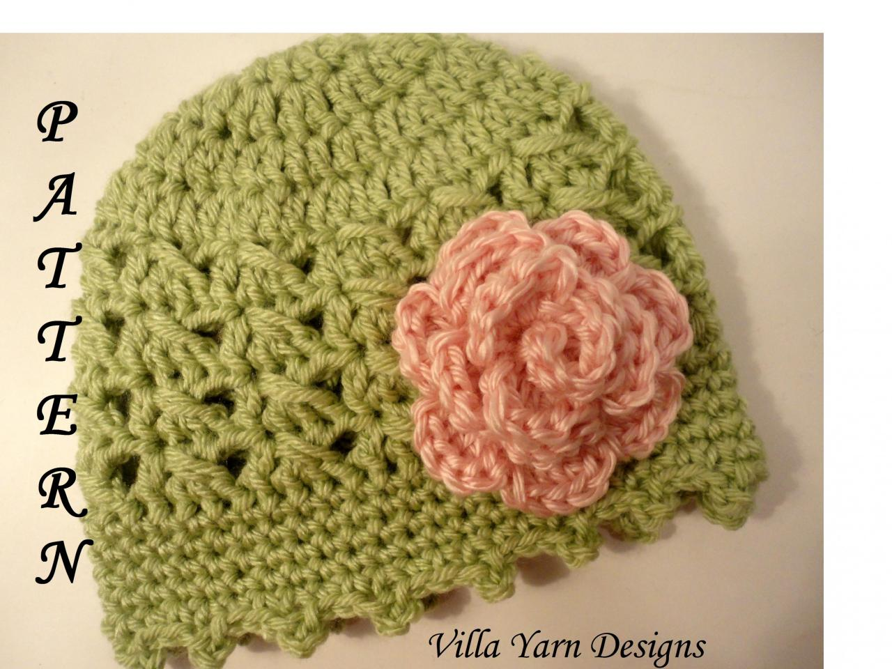 Crochet Patterns Baby Hats With Flowers : Crochet Baby Hat Pattern With Flower, Baby Girl, Newborn ...